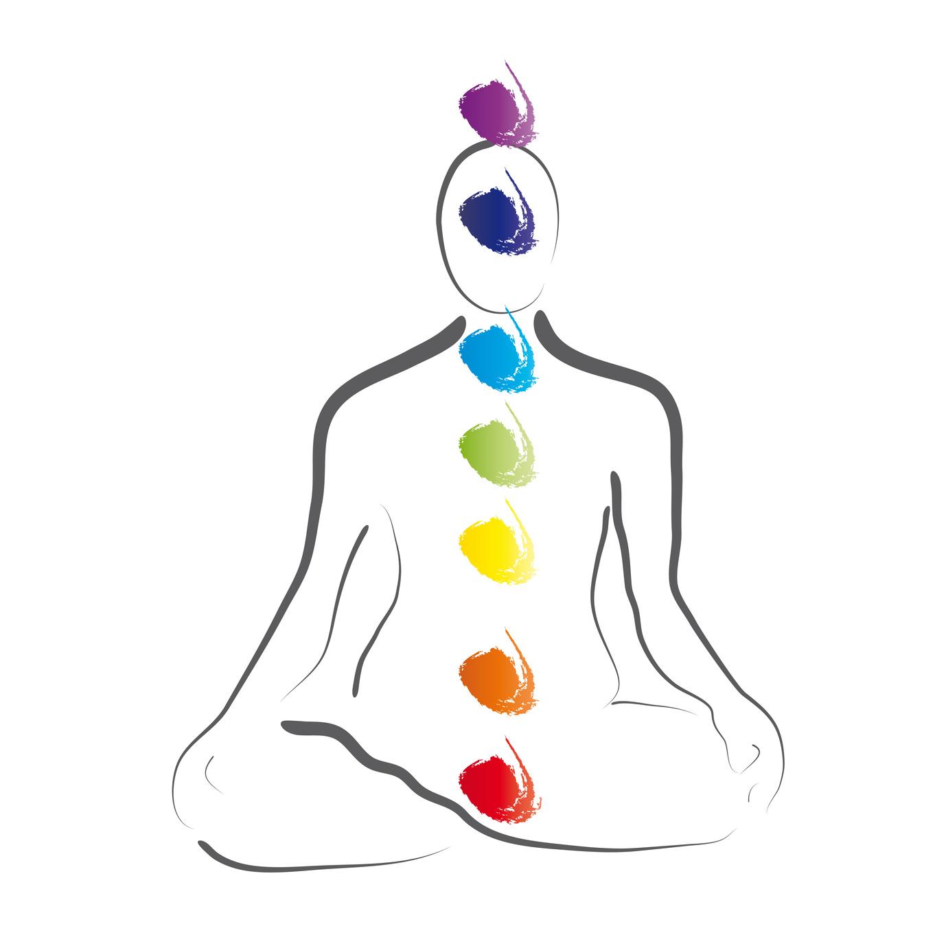 position im Yoga - Lotussitz mit den Chakren, Logo